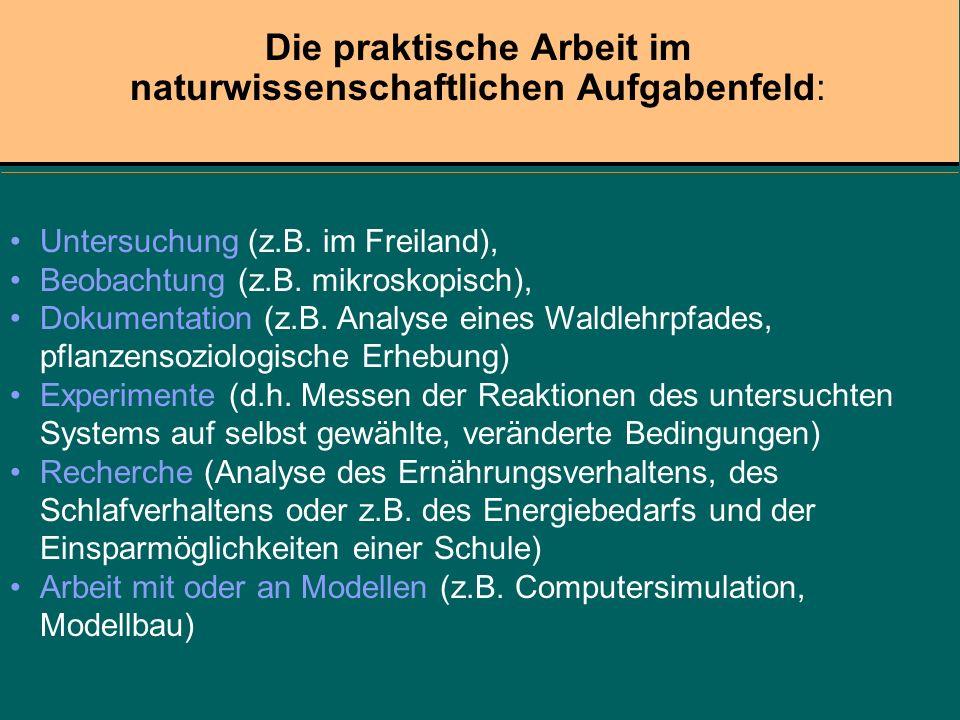 Untersuchung (z.B. im Freiland), Beobachtung (z.B. mikroskopisch), Dokumentation (z.B. Analyse eines Waldlehrpfades, pflanzensoziologische Erhebung) E