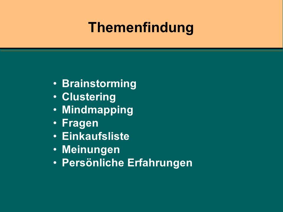 Themenfindung Brainstorming Clustering Mindmapping Fragen Einkaufsliste Meinungen Persönliche Erfahrungen