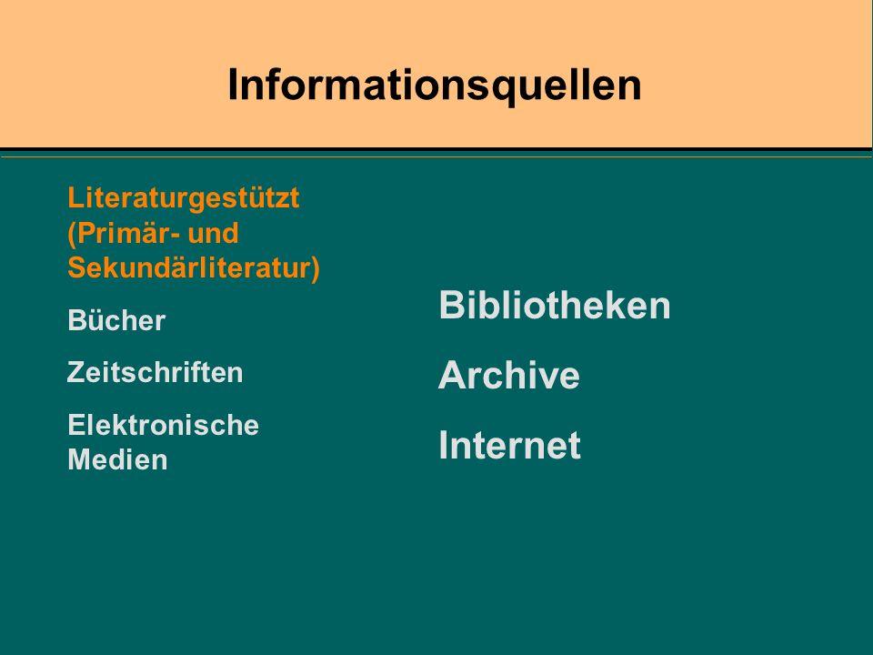 Informationsquellen Literaturgestützt (Primär- und Sekundärliteratur) Bücher Zeitschriften Elektronische Medien Bibliotheken Archive Internet