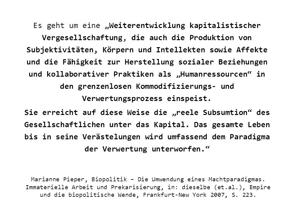 Marianne Pieper, Biopolitik – Die Umwendung eines Machtparadigmas.