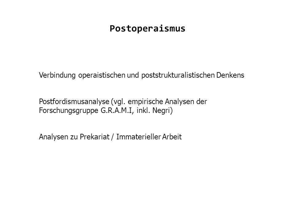 Postoperaismus Verbindung operaistischen und poststrukturalistischen Denkens Postfordismusanalyse (vgl.
