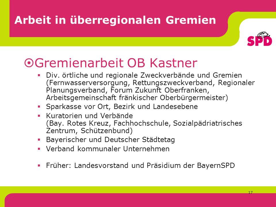17 Arbeit in überregionalen Gremien Gremienarbeit OB Kastner Div.