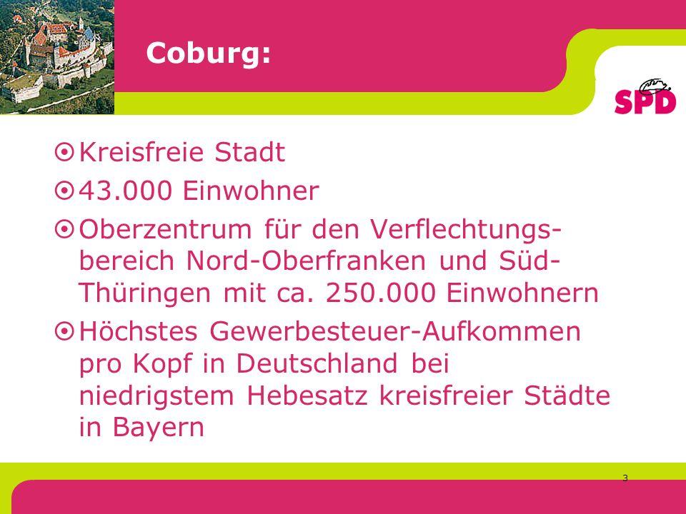 3 Coburg: Kreisfreie Stadt 43.000 Einwohner Oberzentrum für den Verflechtungs- bereich Nord-Oberfranken und Süd- Thüringen mit ca.