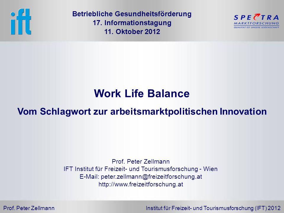 Prof. Peter Zellmann Institut für Freizeit- und Tourismusforschung (IFT) 2012 Prof. Peter Zellmann IFT Institut für Freizeit- und Tourismusforschung -