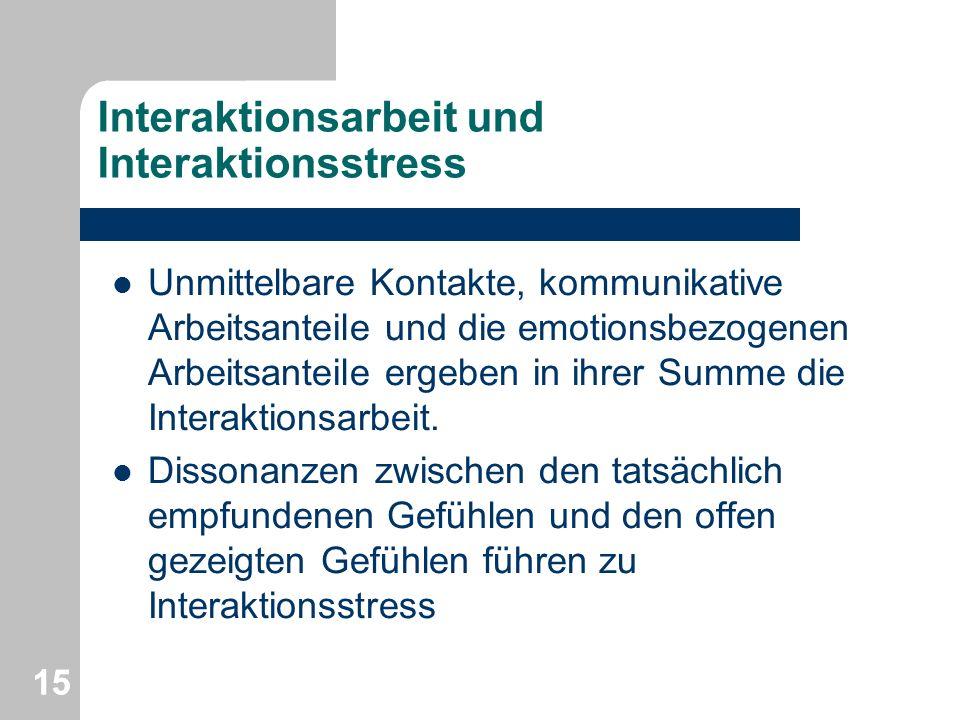 Interaktionsarbeit und Interaktionsstress Unmittelbare Kontakte, kommunikative Arbeitsanteile und die emotionsbezogenen Arbeitsanteile ergeben in ihre