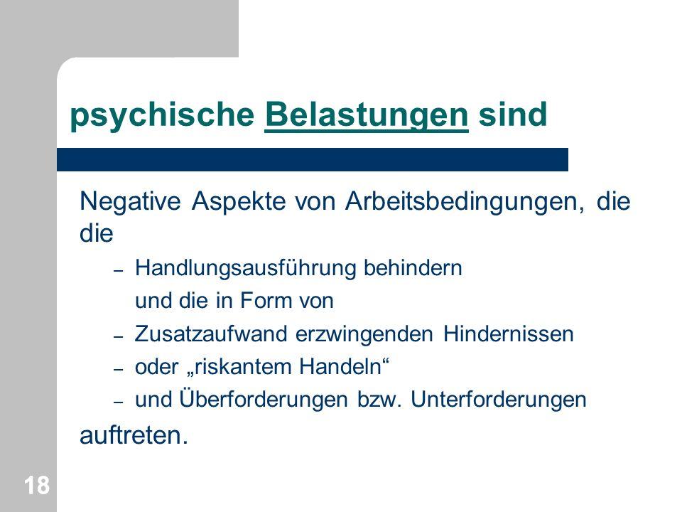 psychische Belastungen sind Negative Aspekte von Arbeitsbedingungen, die die – Handlungsausführung behindern und die in Form von – Zusatzaufwand erzwi