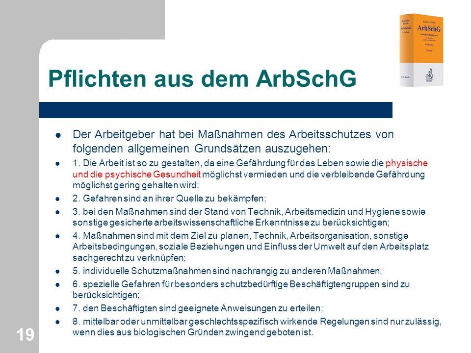 Pflichten aus dem ArbSchG Der Arbeitgeber hat bei Maßnahmen des Arbeitsschutzes von folgenden allgemeinen Grundsätzen auszugehen: 1. Die Arbeit ist so