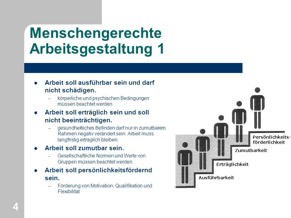 Menschengerechte Arbeitsgestaltung 2 Ist eine Arbeitsaufgabe so gestaltet, dass – aus ihr selbst heraus Interesse und Engagement und – die Motivation zum Weiterhandeln entsteht, dann sind optimale Voraussetzungen für die Erbringung der Arbeitsleistung vorhanden.