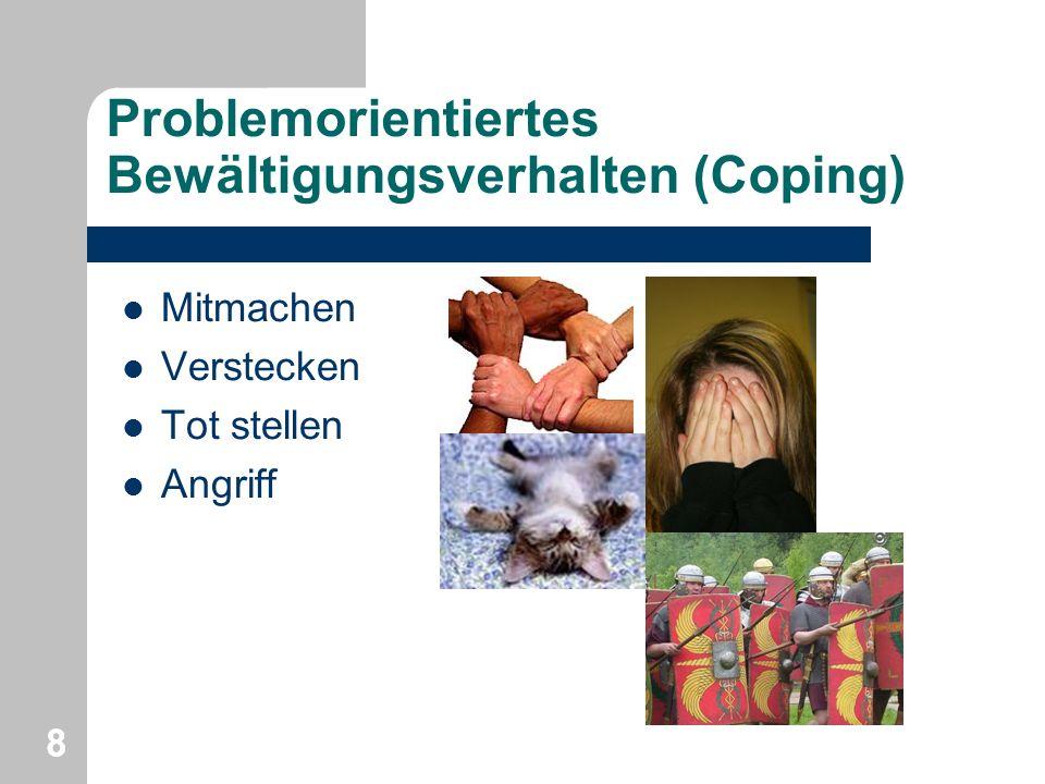 Problemorientiertes Bewältigungsverhalten (Coping) Mitmachen Verstecken Tot stellen Angriff 88