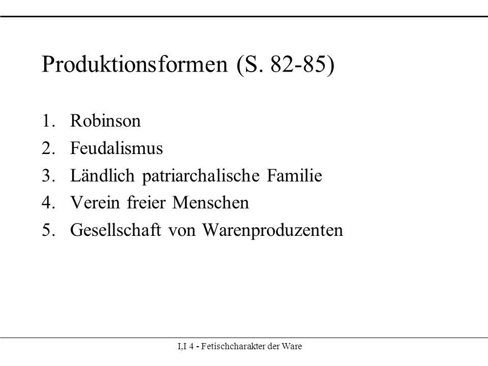 I,I 4 - Fetischcharakter der Ware Produktionsformen (S.