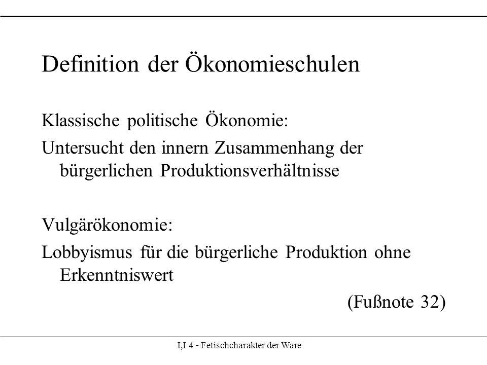 I,I 4 - Fetischcharakter der Ware Definition der Ökonomieschulen Klassische politische Ökonomie: Untersucht den innern Zusammenhang der bürgerlichen Produktionsverhältnisse Vulgärökonomie: Lobbyismus für die bürgerliche Produktion ohne Erkenntniswert (Fußnote 32)