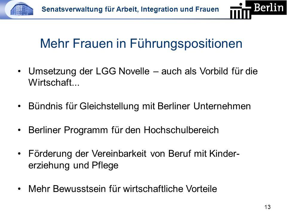 Senatsverwaltung für Arbeit, Integration und Frauen 13 Mehr Frauen in Führungspositionen Umsetzung der LGG Novelle – auch als Vorbild für die Wirtschaft...