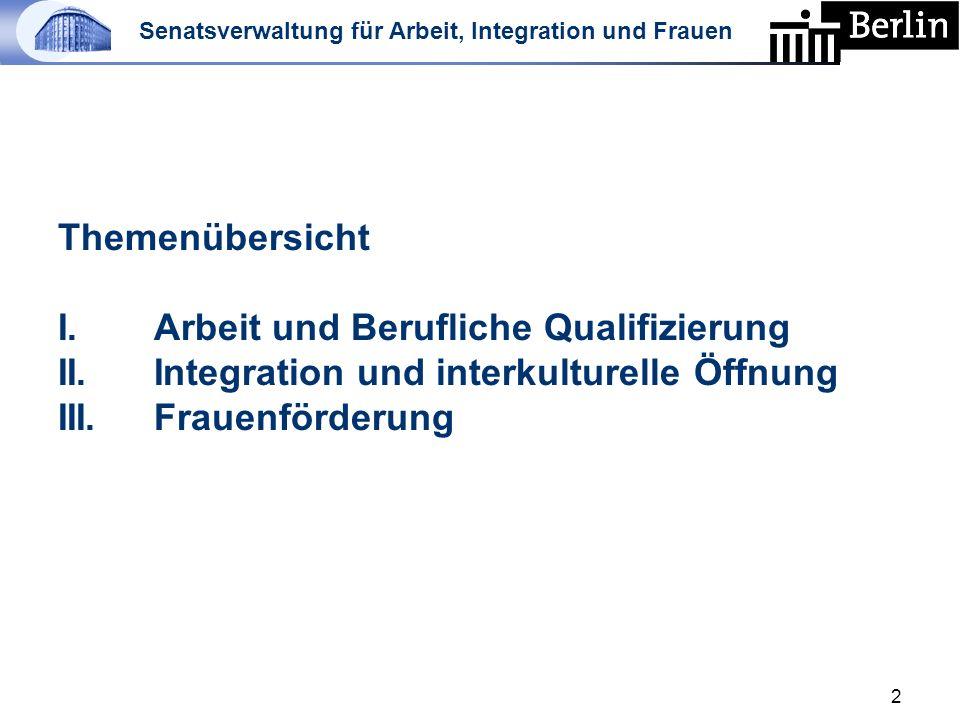 Senatsverwaltung für Arbeit, Integration und Frauen Themenübersicht I.