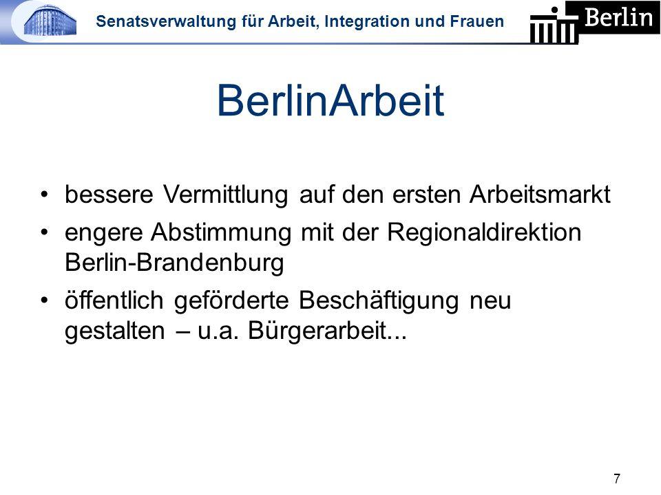 Senatsverwaltung für Arbeit, Integration und Frauen BerlinArbeit bessere Vermittlung auf den ersten Arbeitsmarkt engere Abstimmung mit der Regionaldirektion Berlin-Brandenburg öffentlich geförderte Beschäftigung neu gestalten – u.a.