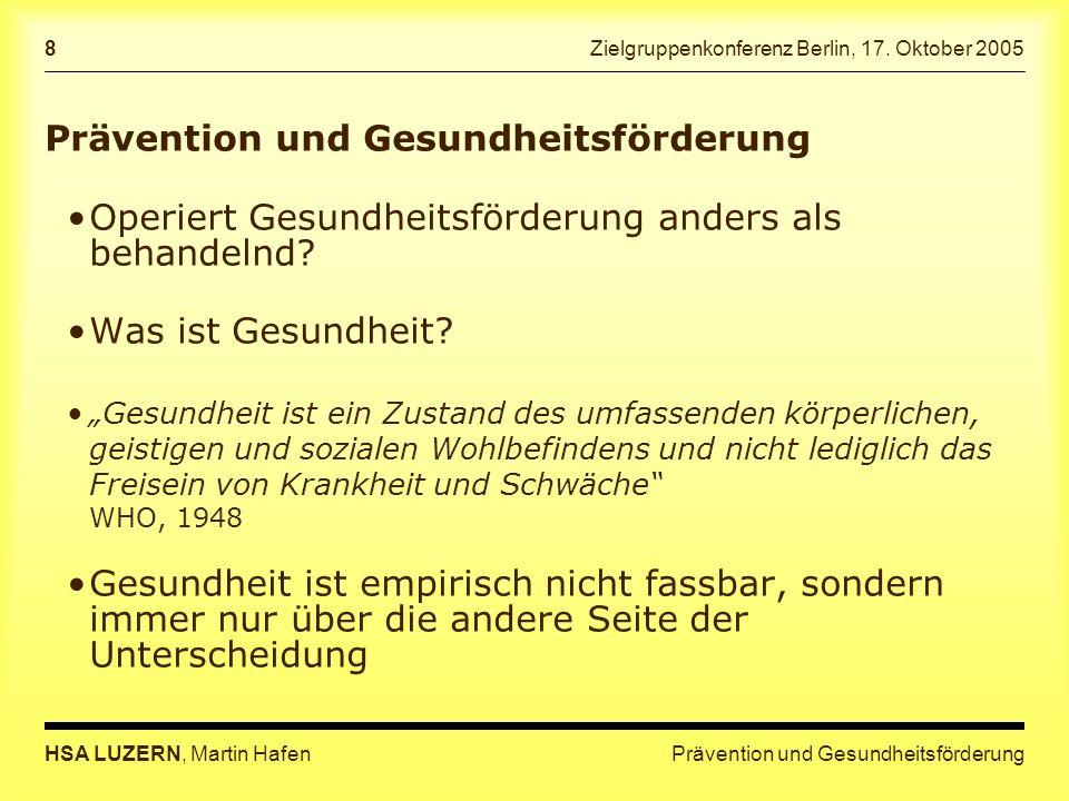 Prävention und GesundheitsförderungHSA LUZERN, Martin Hafen 8 Zielgruppenkonferenz Berlin, 17.