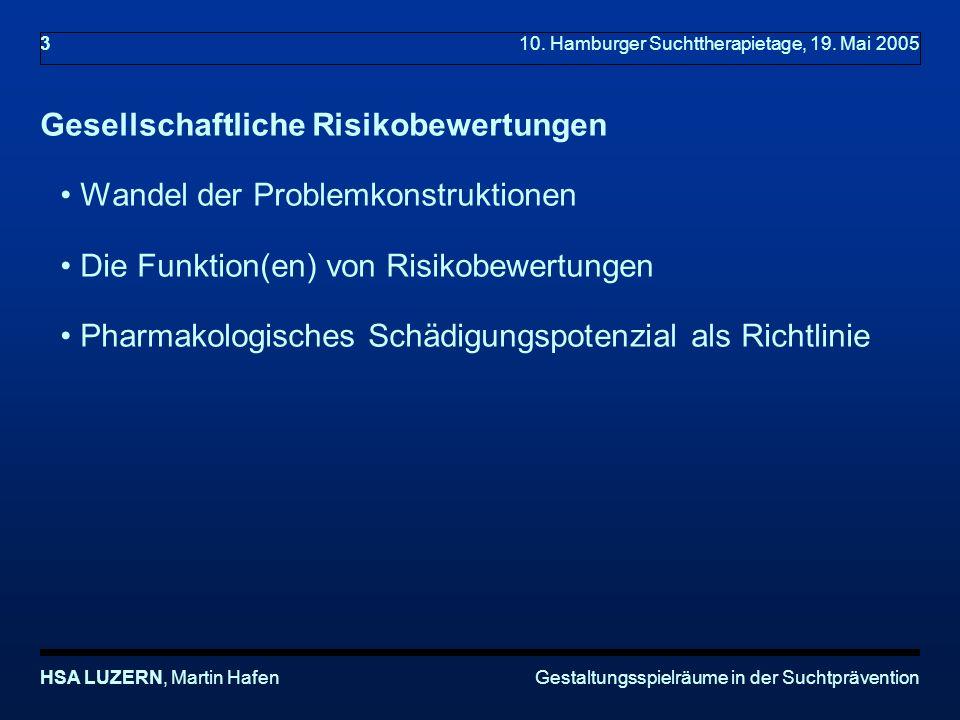 Gestaltungsspielräume in der SuchtpräventionHSA LUZERN, Martin Hafen 3 10.