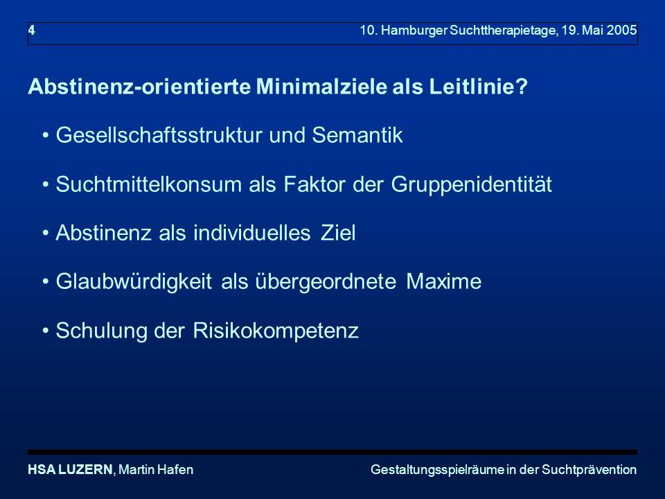 Gestaltungsspielräume in der SuchtpräventionHSA LUZERN, Martin Hafen 4 10.