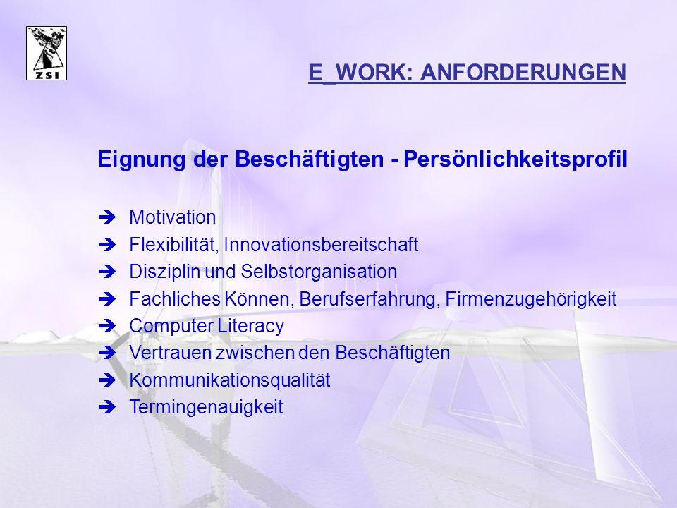 VERBREITUNG VON E–WORK Verbreitung gesamt:49% (ca.
