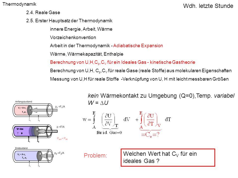 Thermodynamik 2.4. Reale Gase 2.5. Erster Hauptsatz der Thermodynamik innere Energie, Arbeit, Wärme Vorzeichenkonvention Arbeit in der Thermodynamik -