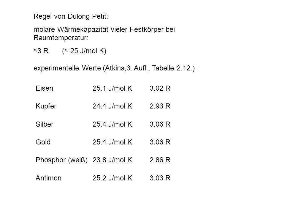 Regel von Dulong-Petit: molare Wärmekapazität vieler Festkörper bei Raumtemperatur: 3 R ( 25 J/mol K) Eisen25.1 J/mol K3.02 R Kupfer24.4 J/mol K2.93 R