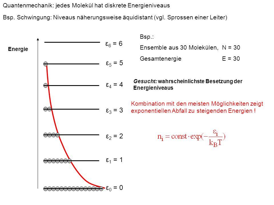 Quantenmechanik: jedes Molekül hat diskrete Energieniveaus Bsp. Schwingung: Niveaus näherungsweise äquidistant (vgl. Sprossen einer Leiter) Bsp.: Ense