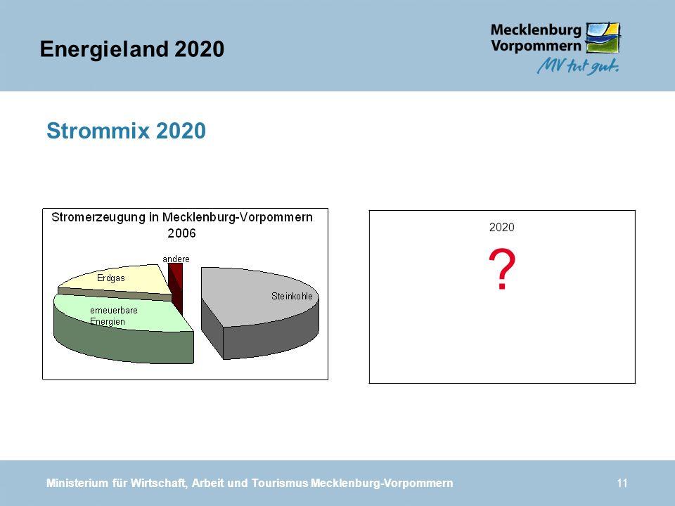Ministerium für Wirtschaft, Arbeit und Tourismus Mecklenburg-Vorpommern11 Strommix 2020 2020 ? Energieland 2020