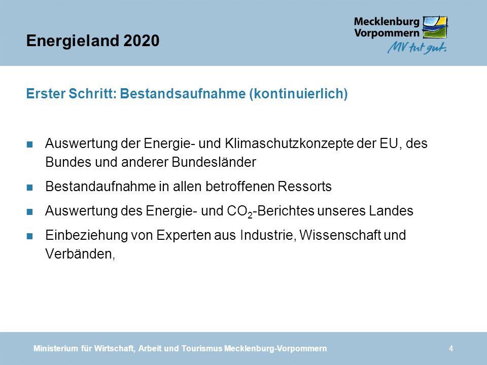 Ministerium für Wirtschaft, Arbeit und Tourismus Mecklenburg-Vorpommern4 Erster Schritt: Bestandsaufnahme (kontinuierlich) n Auswertung der Energie- u