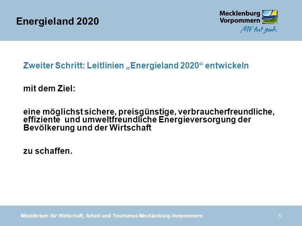 Ministerium für Wirtschaft, Arbeit und Tourismus Mecklenburg-Vorpommern5 Zweiter Schritt: Leitlinien Energieland 2020 entwickeln mit dem Ziel: eine mö