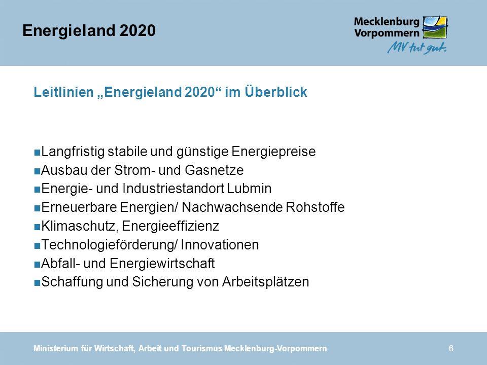 Ministerium für Wirtschaft, Arbeit und Tourismus Mecklenburg-Vorpommern6 Leitlinien Energieland 2020 im Überblick n Langfristig stabile und günstige E