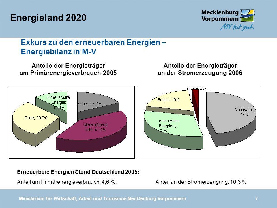 Ministerium für Wirtschaft, Arbeit und Tourismus Mecklenburg-Vorpommern7 Energieland 2020 Anteile der Energieträger an der Stromerzeugung 2006 Anteile