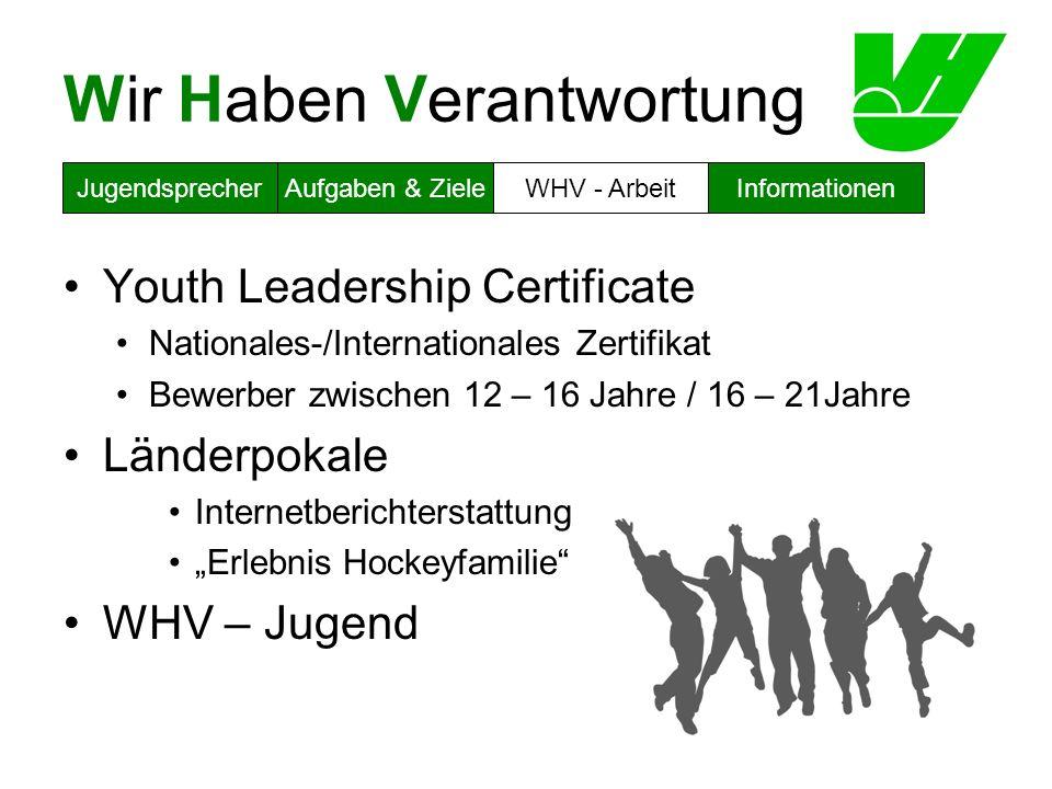 Wir Haben Verantwortung Youth Leadership Certificate Nationales-/Internationales Zertifikat Bewerber zwischen 12 – 16 Jahre / 16 – 21Jahre Länderpokal