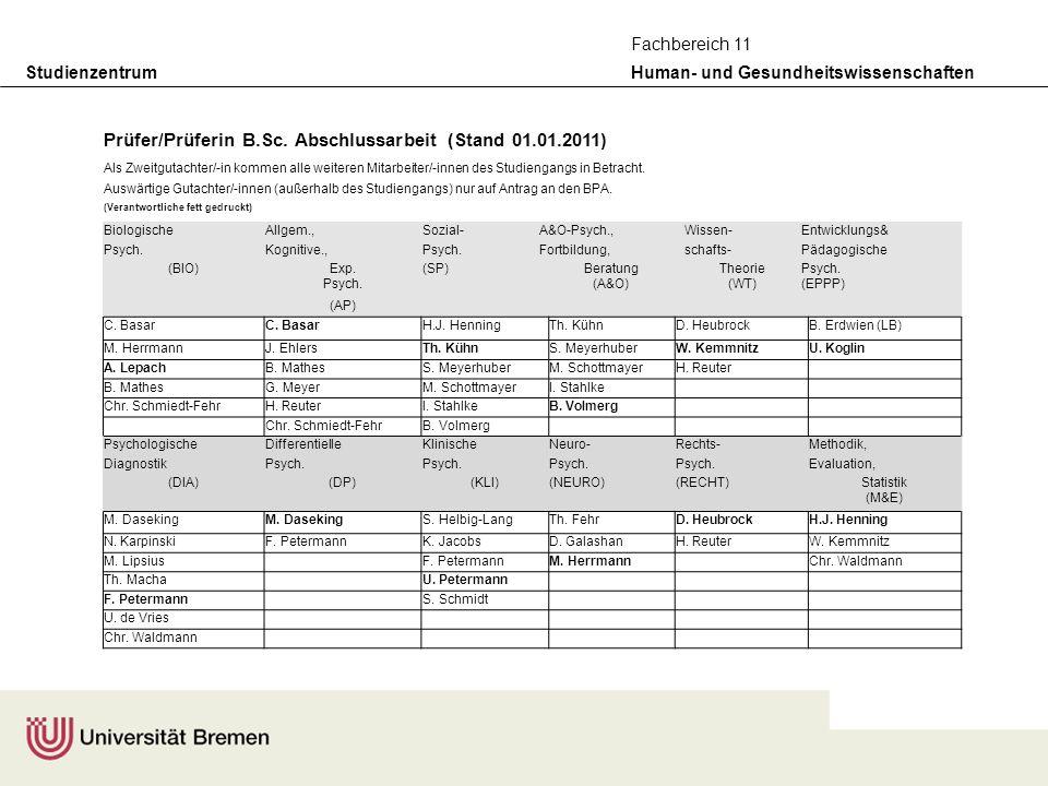 Studienzentrum Human- und Gesundheitswissenschaften Fachbereich 11 Prüfer/Prüferin B.Sc. Abschlussarbeit (Stand 01.01.2011) Als Zweitgutachter/-in kom