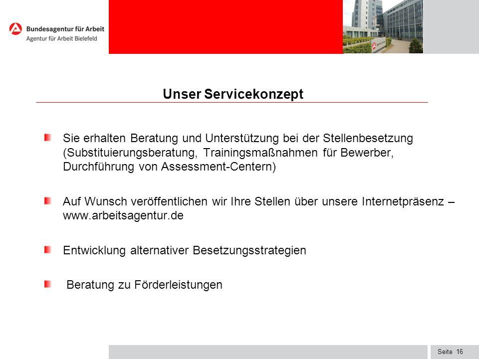 Seite16 Unser Servicekonzept Sie erhalten Beratung und Unterstützung bei der Stellenbesetzung (Substituierungsberatung, Trainingsmaßnahmen für Bewerbe