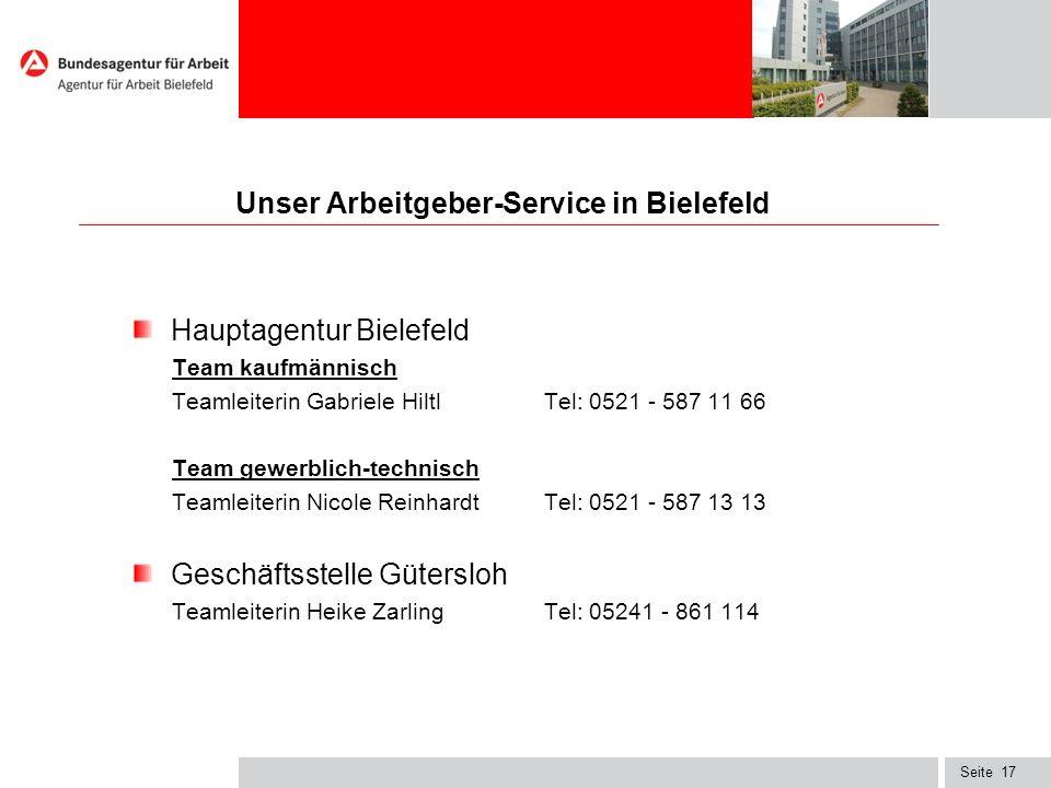 Seite17 Unser Arbeitgeber-Service in Bielefeld Hauptagentur Bielefeld Team kaufmännisch Teamleiterin Gabriele Hiltl Tel: 0521 - 587 11 66 Team gewerbl