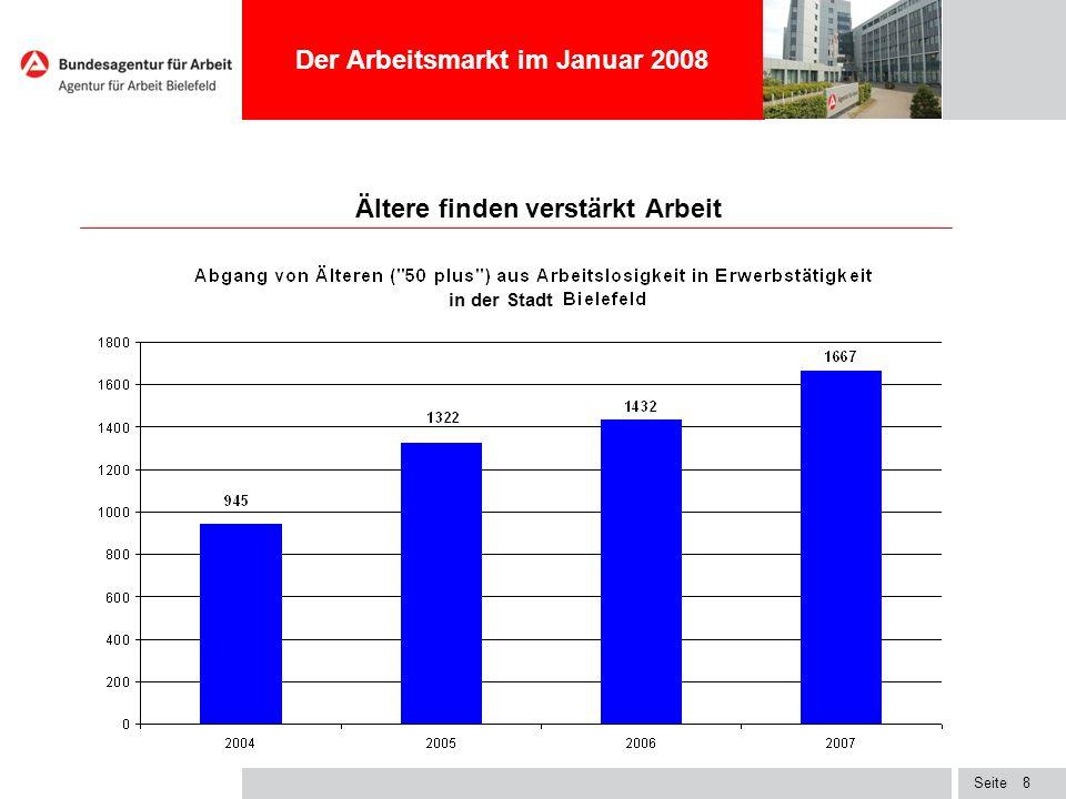 Seite8 Ältere finden verstärkt Arbeit Der Arbeitsmarkt im Januar 2008 in der Stadt