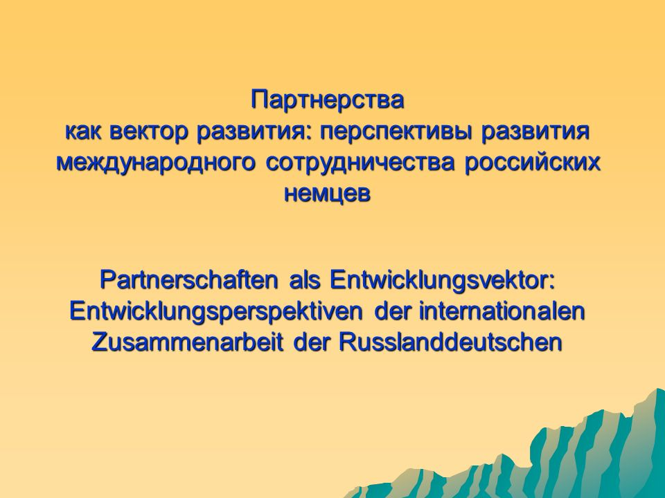 Партнерства как вектор развития: перспективы развития международного сотрудничества российских немцев Partnerschaften als Entwicklungsvektor: Entwicklungsperspektiven der internationalen Zusammenarbeit der Russlanddeutschen