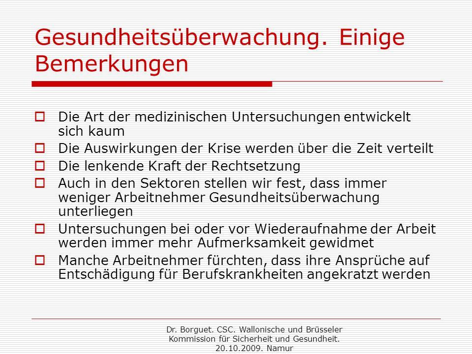 Dr. Borguet. CSC. Wallonische und Brüsseler Kommission für Sicherheit und Gesundheit.