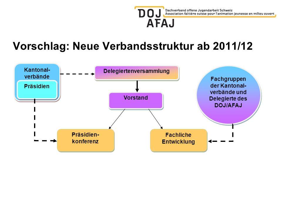 Vorschlag: Neue Verbandsstruktur ab 2011/12 Delegiertenversammlung Kantonal- verbände Präsidien Vorstand Präsidien- konferenz Fachgruppen der Kantonal- verbände und Delegierte des DOJ/AFAJ Fachliche Entwicklung