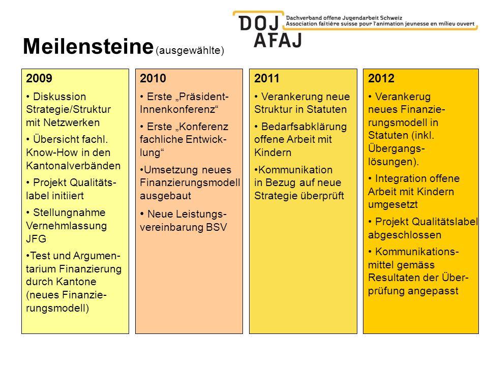 Meilensteine (ausgewählte) 2009 Diskussion Strategie/Struktur mit Netzwerken Übersicht fachl.