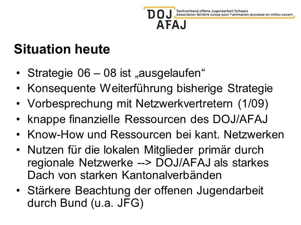 Situation heute Strategie 06 – 08 ist ausgelaufen Konsequente Weiterführung bisherige Strategie Vorbesprechung mit Netzwerkvertretern (1/09) knappe finanzielle Ressourcen des DOJ/AFAJ Know-How und Ressourcen bei kant.