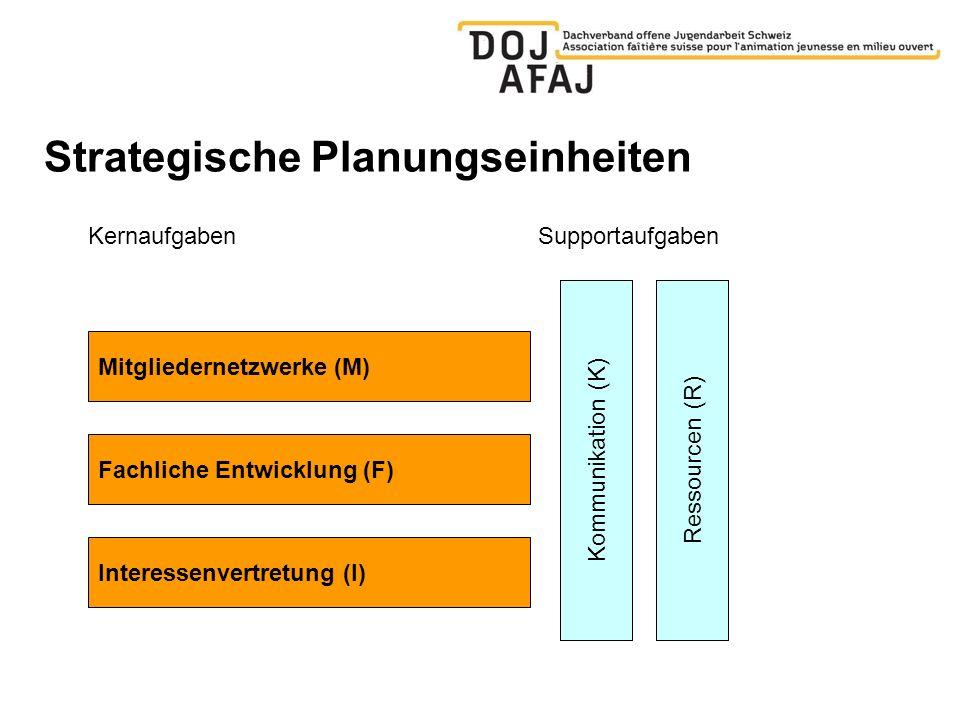 Strategische Planungseinheiten KernaufgabenSupportaufgaben Mitgliedernetzwerke (M) Fachliche Entwicklung (F) Kommunikation (K) Interessenvertretung (I) Ressourcen (R)