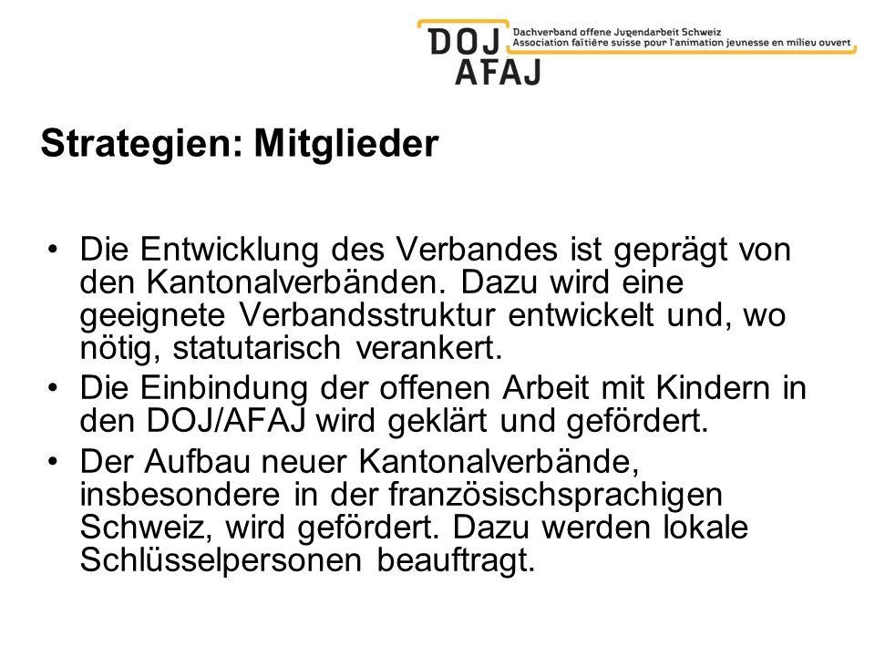 Strategien: Mitglieder Die Entwicklung des Verbandes ist geprägt von den Kantonalverbänden.