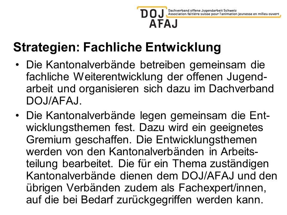 Strategien: Fachliche Entwicklung Die Kantonalverbände betreiben gemeinsam die fachliche Weiterentwicklung der offenen Jugend- arbeit und organisieren sich dazu im Dachverband DOJ/AFAJ.