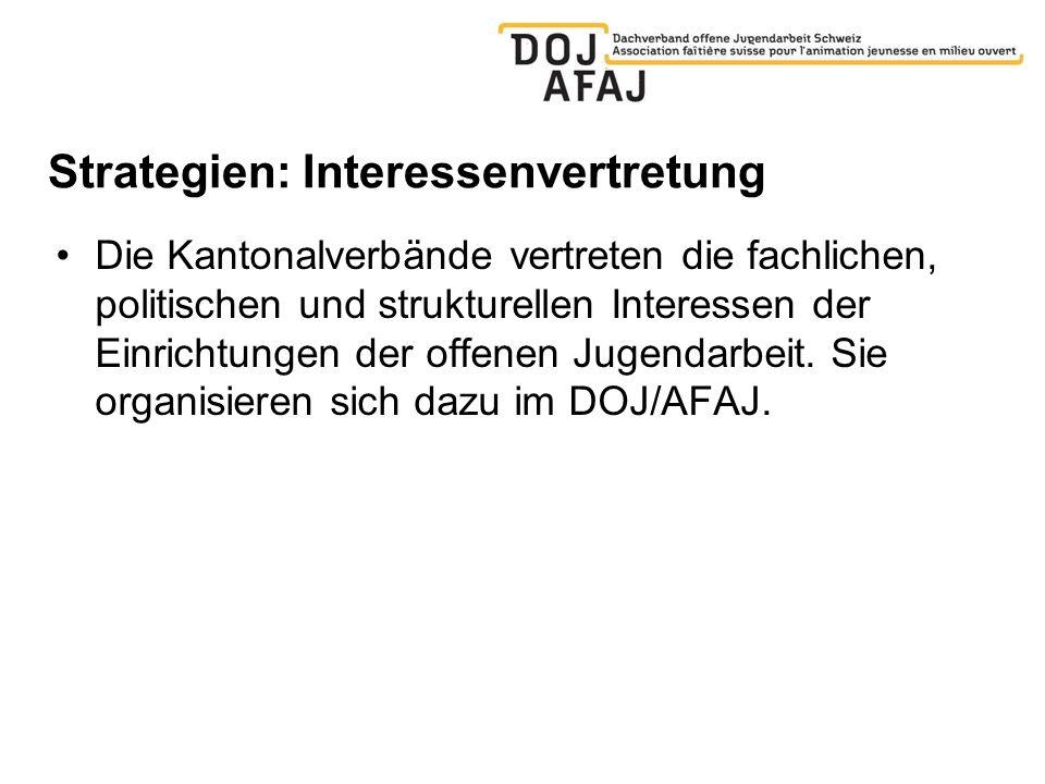 Strategien: Interessenvertretung Die Kantonalverbände vertreten die fachlichen, politischen und strukturellen Interessen der Einrichtungen der offenen Jugendarbeit.