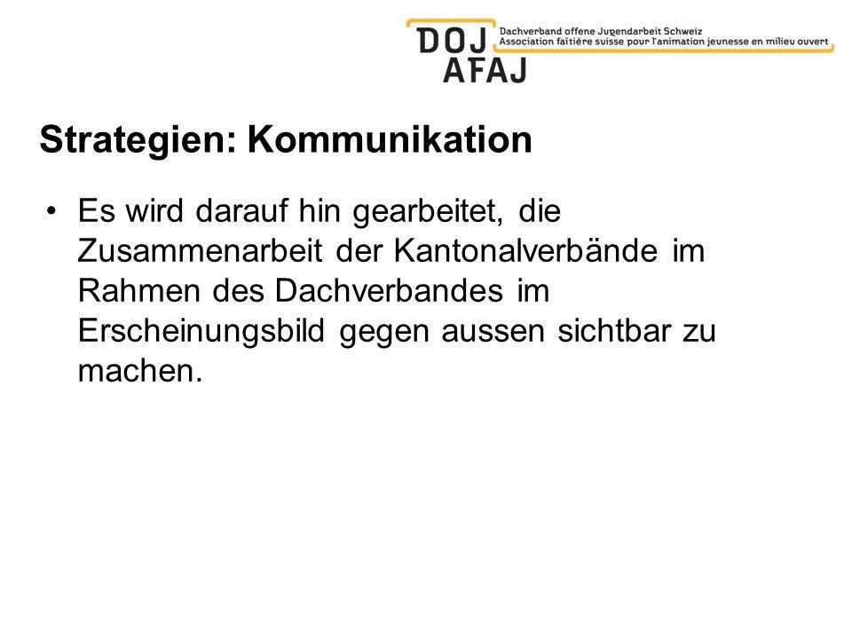 Strategien: Kommunikation Es wird darauf hin gearbeitet, die Zusammenarbeit der Kantonalverbände im Rahmen des Dachverbandes im Erscheinungsbild gegen aussen sichtbar zu machen.