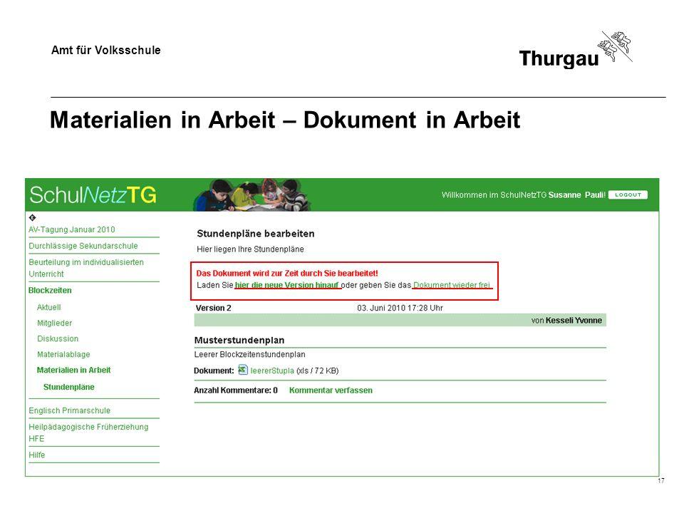 Amt für Volksschule 17 Materialien in Arbeit – Dokument in Arbeit