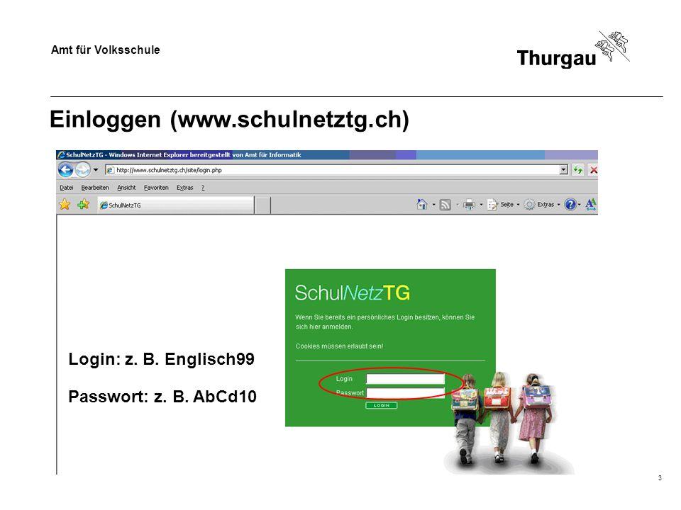 Amt für Volksschule 3 Einloggen (www.schulnetztg.ch) Login: z. B. Englisch99 Passwort: z. B. AbCd10