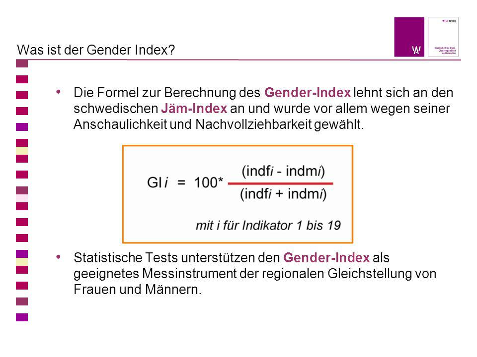 Was ist der Gender Index? Die Formel zur Berechnung des Gender-Index lehnt sich an den schwedischen Jäm-Index an und wurde vor allem wegen seiner Ansc