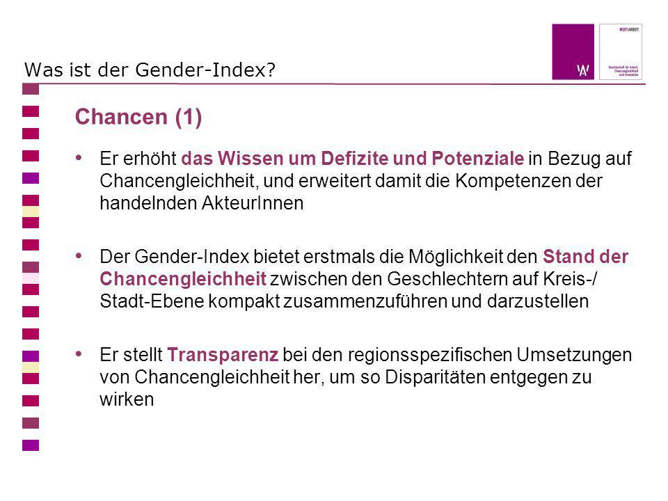 Was ist der Gender-Index? Chancen (1) Er erhöht das Wissen um Defizite und Potenziale in Bezug auf Chancengleichheit, und erweitert damit die Kompeten