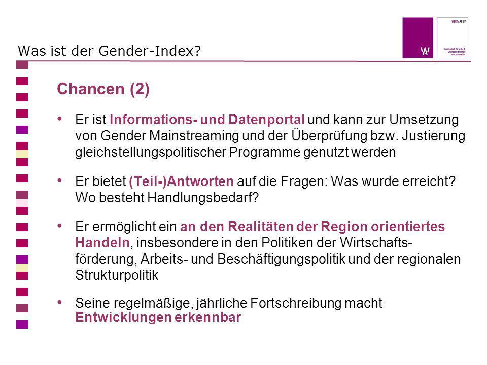 Was ist der Gender-Index? Chancen (2) Er ist Informations- und Datenportal und kann zur Umsetzung von Gender Mainstreaming und der Überprüfung bzw. Ju